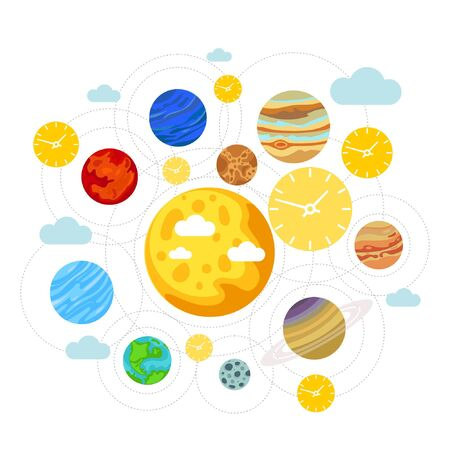 Flat illustration of solar system showing planets around sun. Isolated on a white background Illustration