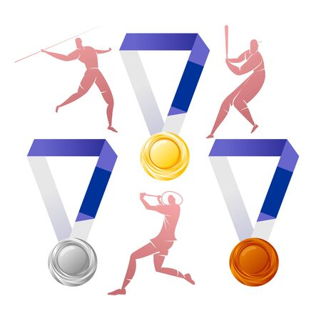 Gold, silver, bronze medals with silhouettes of athletes 向量圖像