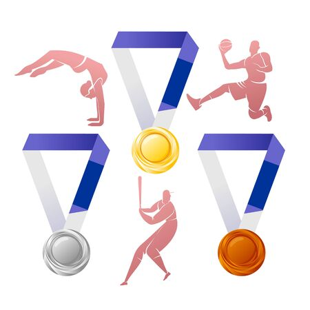 Gold, silver, bronze medals with silhouettes of athletes 版權商用圖片 - 144271920