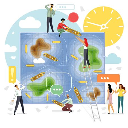 Vector flat illustration sea battle business game with group of young development specialists
