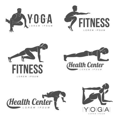 Fitness, Aerobic, workout exercise in gym Ilustração Vetorial