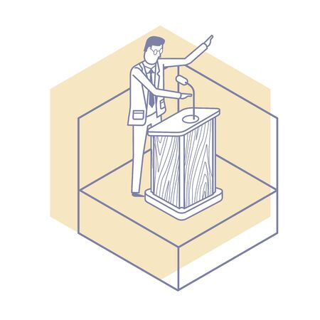 Vector flat illustration pictogram the speaker behind the podium gives a lecture. Scenes with people successfully organizing their tasks and appointments.