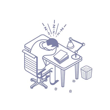Vector illustration of managers at the desks in the office. Scenes with people successfully organizing their tasks and appointments.