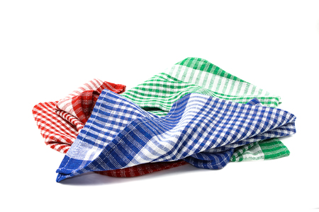 Red checkered picnic clothes isolated. Decorative cotton napkin. Plaid gingham towel.