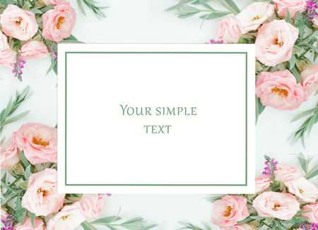 Beautiful pink roses heads on pink background. flower pattern in pastel colors. overhead view, top view. Greeting card for female, valentine, birthday day, advertising