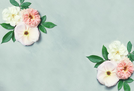 Festive flower composition on gray background. Top view. Overhead view. Floral background. Flower pattern