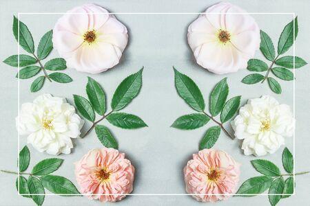 灰色背景上的节日花组成。前视图。顶视图。花的背景。花朵图案