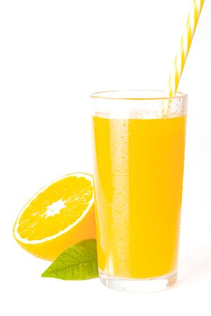 isilated glass orange juice with fresh fruits on white background . Healthy yellow smoothie with yellow fruit