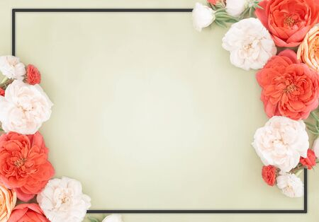 Beautiful roses heads on mint background. Frame from flower in pastel colors. overhead view, top view. Greeting card for female, valentine, mother, women day with copy space Stock fotó