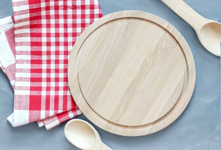 Cutting board or chopping board on grunge table. Wooden plate on desk. Top view