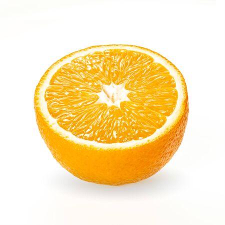 Half of orange fruit isolated on white background. ?itrus fruit
