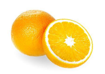 Fresh orange isolated on white background. oranges fruit
