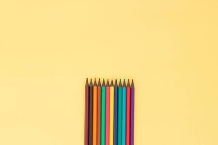 Colorful pencil. Education or back to school concept. Top view