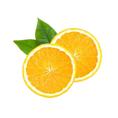Orange fruit. Round orang slice isolate on white background. Top view, flat lay.