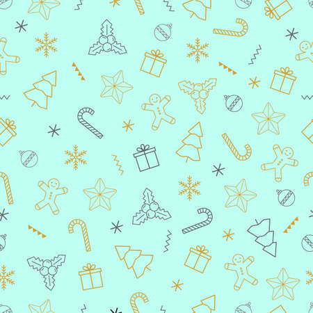 Christmas vector seamless pattern with gift and snowflake, present, tree icon on white background for holiday wrapper paper.