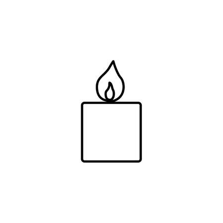 Candle light with flame line icon for birthday, religion, memorial use logo on white background