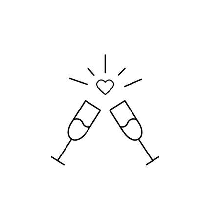 Champagne glasses vector icon for celebration. Two Glass with wine for cheers, toast wine in flat style. Vector illustration
