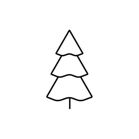 Christmas tree line icon linear isolated on white background