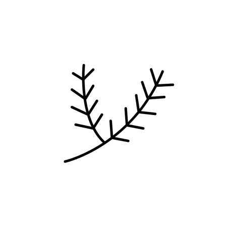 Christmas twig line icon, simple outline and filled vector sign, linear and full pictogram isolated on white illustration Ilustração