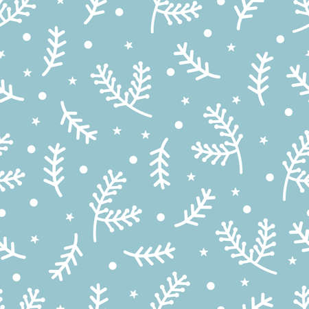 Christmas seamless pattern with spruce and fir branch with berry for holiday wrapper paper. Xmas Winter holiday season Vector illustration for festive card