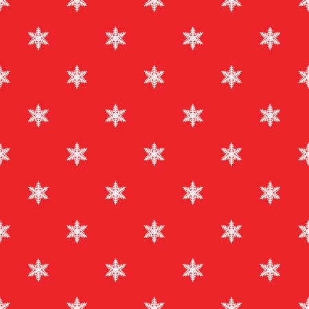Christmas winter red snowflake seamless pattern on pink background for holiday wrapper paper or xmas card in retro, vintage design. Cute illustration for festive decor
