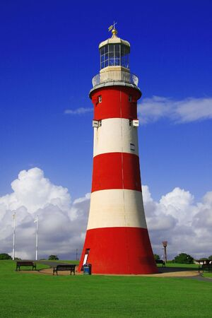 afterglow: Lighthouse in Plymouth, Devon, UK Stock Photo