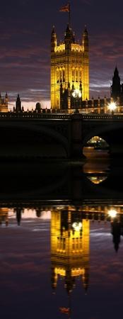 england politics: Parliament in the evening, London, UK