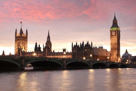 spire: Big Ben in the evening, London, UK