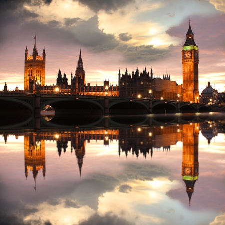 london city: Big Ben in the evening, London, UK
