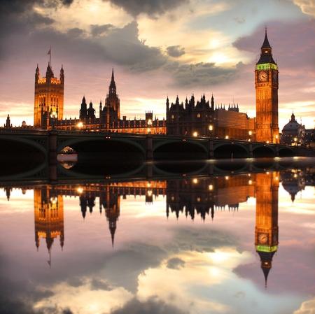 Big Ben por la noche, Londres, Reino Unido Foto de archivo