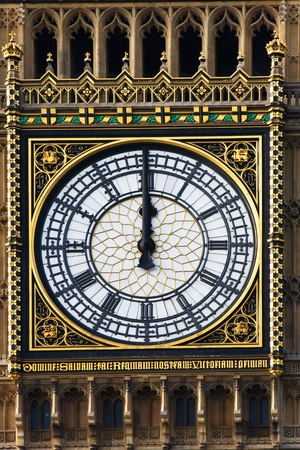 city of westminster: Big Ben with clock, just at noon, London, UK