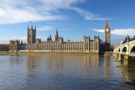 Big Ben with bridge, London, UK  photo