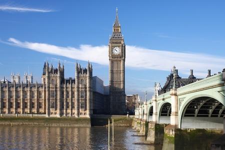 england big ben: Big Ben with bridge, London, UK