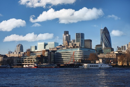 city of london: Modern London with city cruise, England