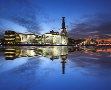 Modern London cityscape at evening, LONDON, UK  photo