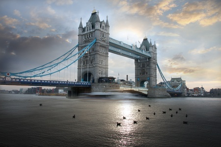 Tower Bridge in the evening in London, UK Stok Fotoğraf