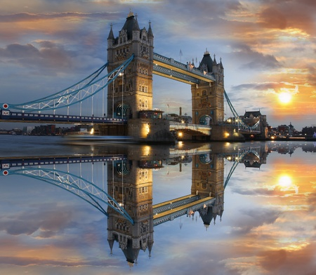 Tower Bridge at night in London, UK  photo