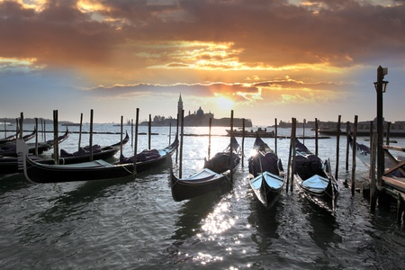 Venice with gondolas in Italy photo