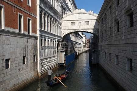 Venice with gondola in Italy photo