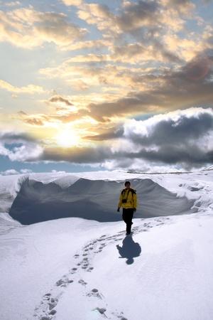 nordic ski: nordic walking in winter landscape  Stock Photo