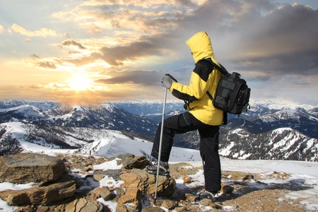 ski walking: nordic walking in winter landscape  Stock Photo