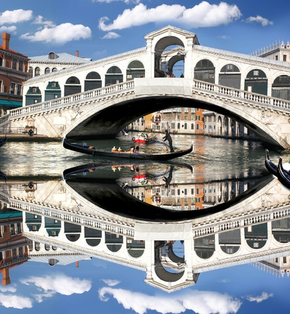 venice italy: Venice, Rialto bridge with gondola in Italy