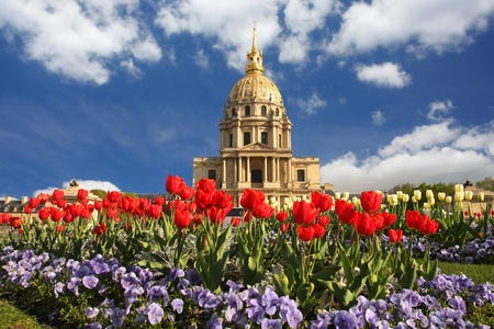 invalides: Paris, Les Invalides in spring time, famous landmark, France  Stock Photo