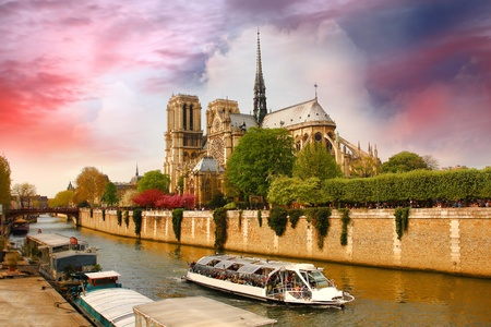 Paris, Notre Dame with boat on Seine, France  photo