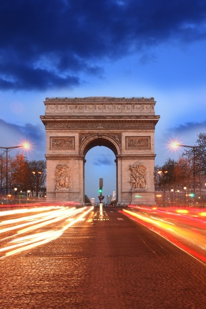 napoleon: Paris, Famous Arc de Triumph in evening , France  Stock Photo
