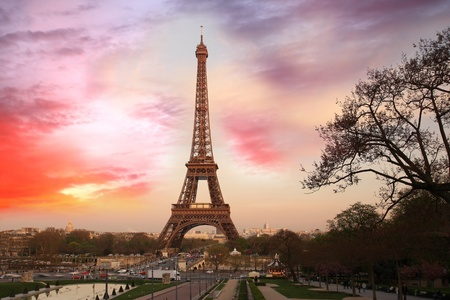 evening glow: Eiffel Tower in the evening,  Paris, France