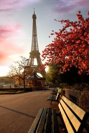 Spring ochtend met Eiffeltoren, Parijs, Frankrijk Stockfoto