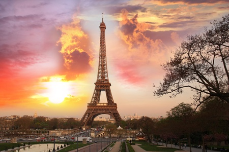 paris at night: Eiffel Tower against sunset in   Paris, France Stock Photo