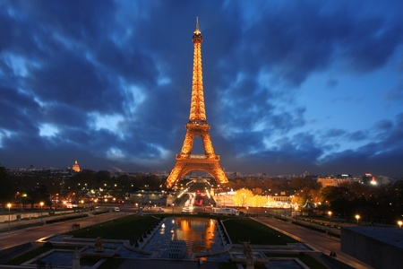paris at night: Eiffel Tower in the evening,  Paris, France