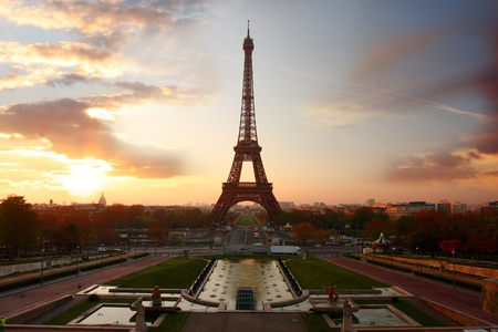 historical landmark: Eiffel Tower in the evening,  Paris, France